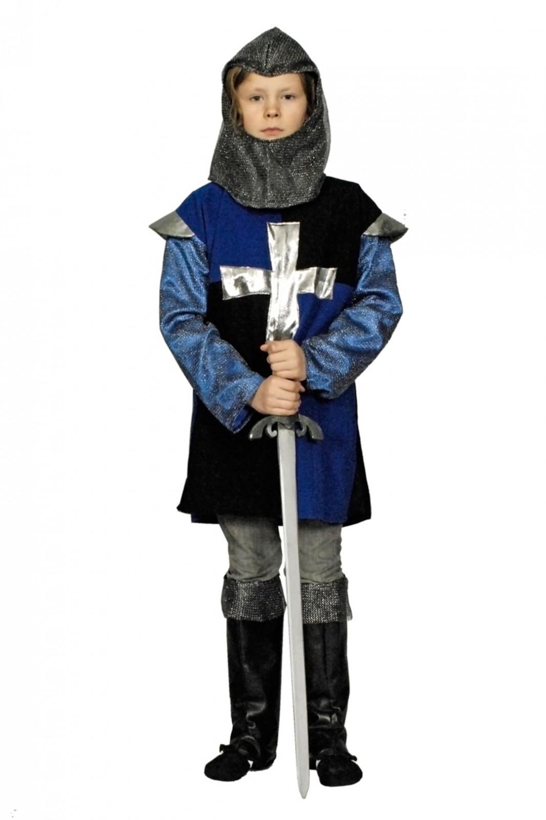 Kinder-Kostuem-Ritter-Gr-98-152-rot-od-blau-schwarz-Karneval-Fasching