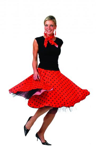 Kostuem-50er-Jahre-Rock-N-Roll-Tellerrock-gepunktet-Rockabilly-Karneval-NEU