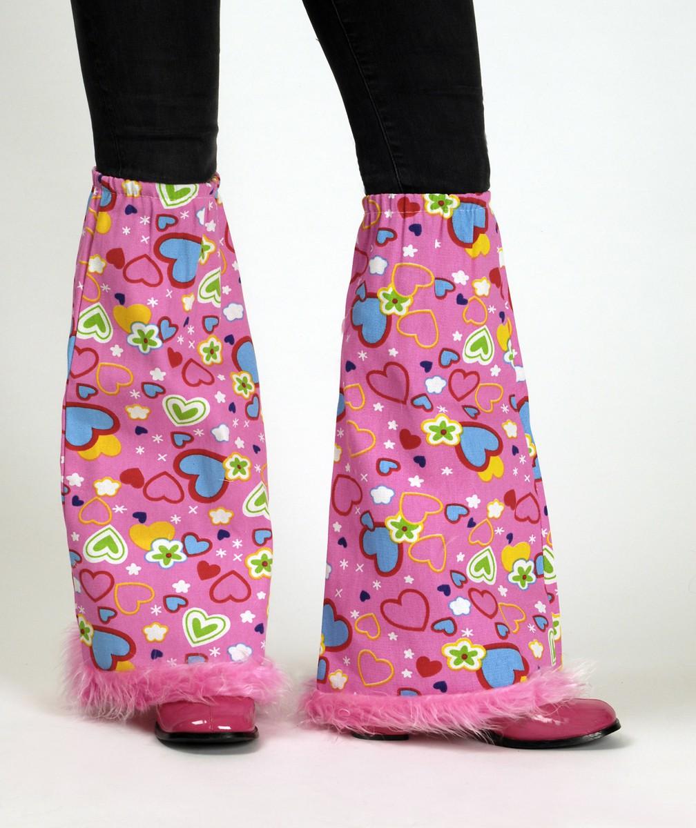 Hippie-Stulpen-Schlaege-pink-Herzchen-o-Bluemchen-Erwachsene-Karneval-Fasching-NEU