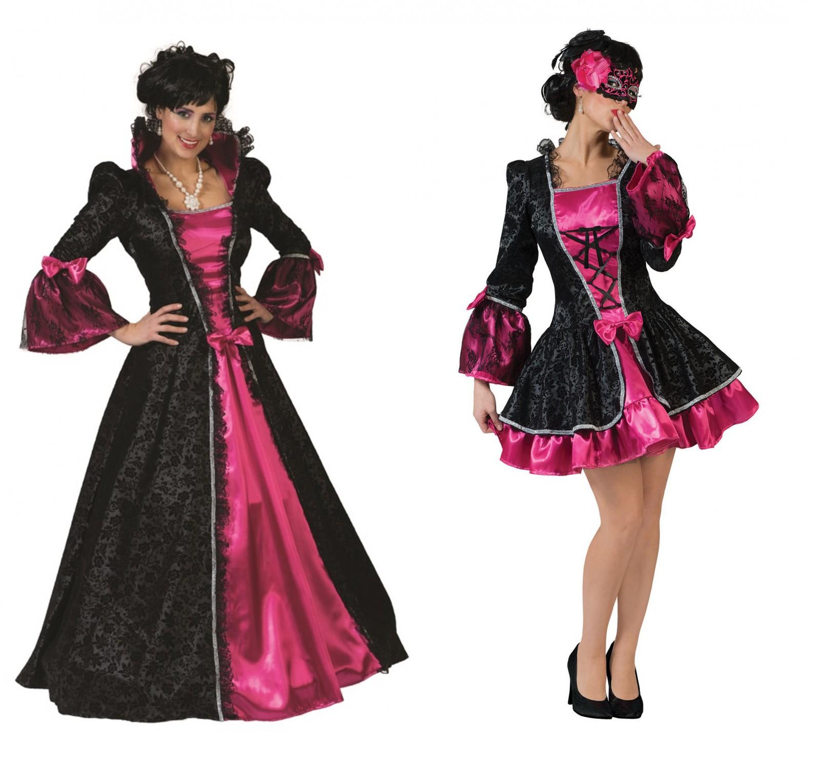 exclusives kleid kost m barock rokoko barockkleid schwarz pink maskenball kost me co. Black Bedroom Furniture Sets. Home Design Ideas