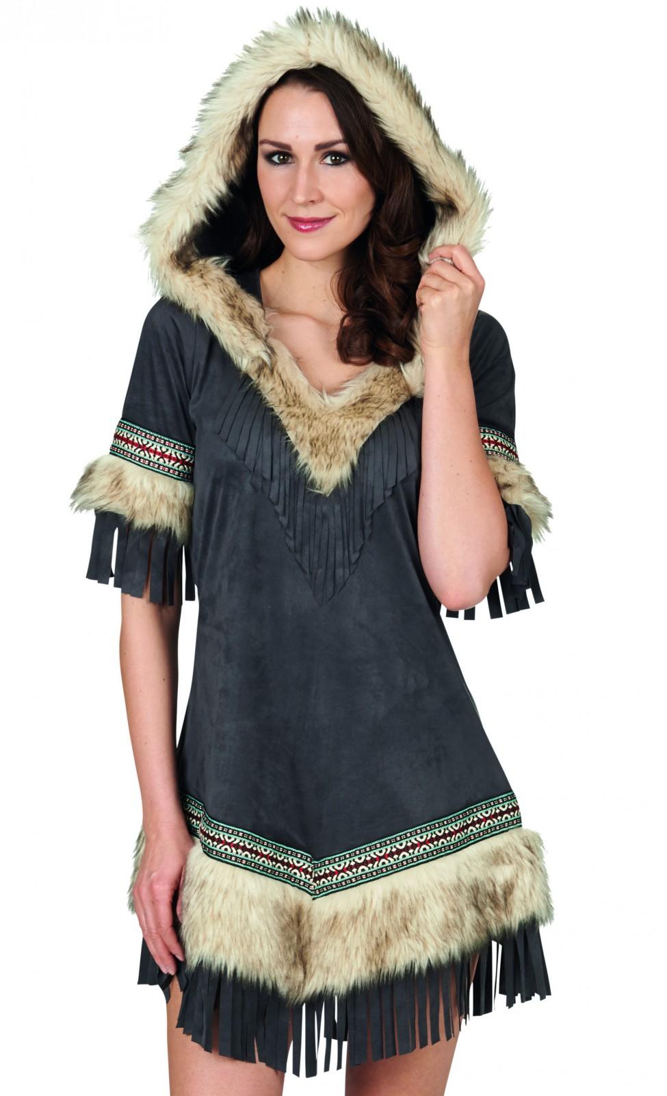 exclusives kost m kleid mit kapuze u fellbesatz eskimo indianerin wildlederoptik kost me co. Black Bedroom Furniture Sets. Home Design Ideas