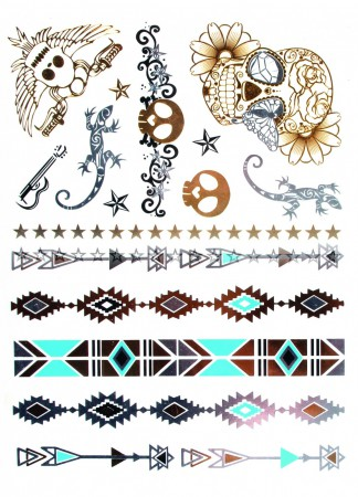 Kostüm Accessoires Metallic Tattoo Pirat oder Indian Karneval Fasching NEU – Bild 1