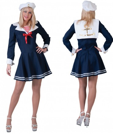 Kostüm Matrosin Sailor Girl Marine Kleid Matrosenkleid Navy Gr36-46 Fasching NEU