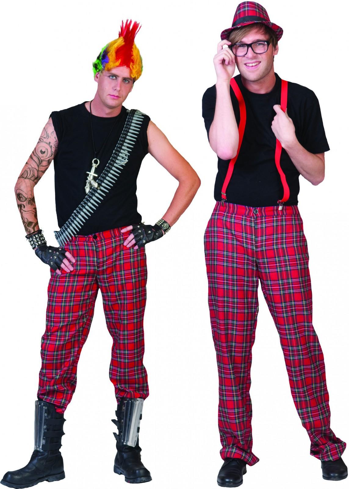 kost m karo hose schottenhose karierte hose punker nerd karneval fasching kost me co 20 80er. Black Bedroom Furniture Sets. Home Design Ideas